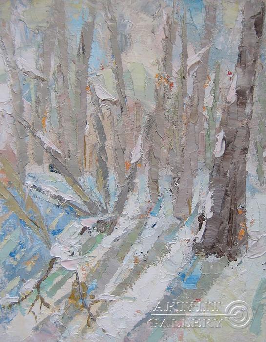 ''Зима. Этюд''.  Силаева Нина. Продажа картин, предметов декоративно-прикладного искусства