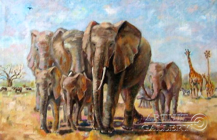 ''Слоны в Тарангири''.  Силаева Нина. Продажа картин, предметов декоративно-прикладного искусства