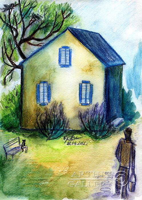 ''Дом с голубыми глазами''.  Сыроватская Наталья. Продажа картин, предметов декоративно-прикладного искусства