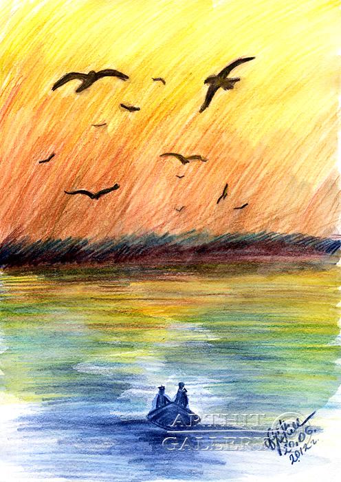 ''Закат над водой...''.  Сыроватская Наталья. Продажа картин, предметов декоративно-прикладного искусства