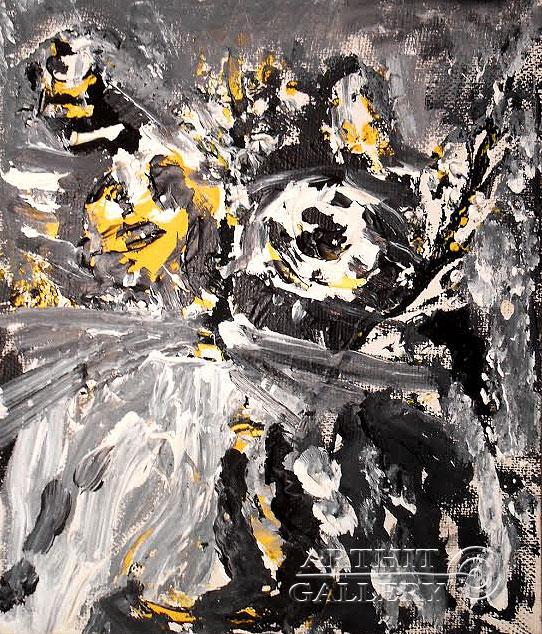 ''Кошка с птицей''.  Горбатюк Андрей. Продажа картин, предметов декоративно-прикладного искусства