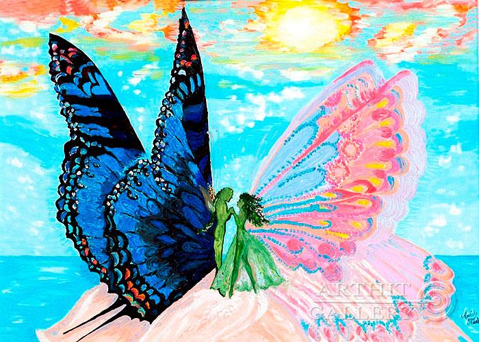 ''Серия `Бабочки`. Свидание''.  Попова Любовь. Продажа картин, предметов декоративно-прикладного искусства