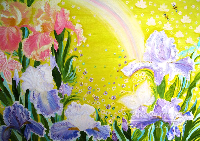 ''Триптих `Сиреневая нежность`. Ирисы''.  Ал Любовь. Продажа картин, предметов декоративно-прикладного искусства