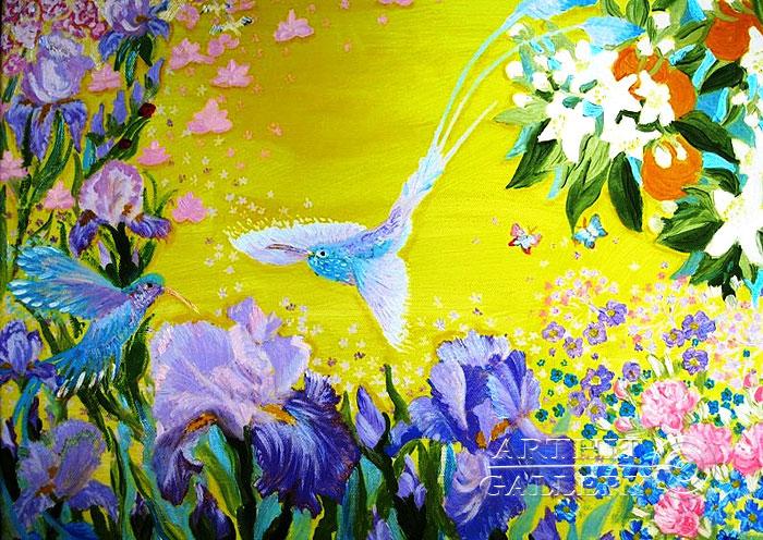 ''Триптих `Сиреневая нежность`. Колибри''.  Попова Любовь. Продажа картин, предметов декоративно-прикладного искусства