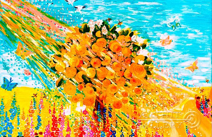 ''Апельсиновое деревце в ладонях''.  Попова Любовь. Продажа картин, предметов декоративно-прикладного искусства
