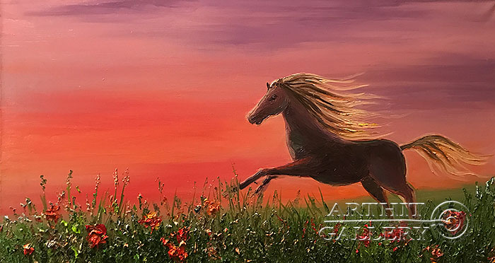 'Horse among the poppy field'. Pavlovich Anna