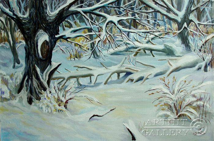 ''Зимний лес''.  Водолазкин Сергей. Продажа картин, предметов декоративно-прикладного искусства