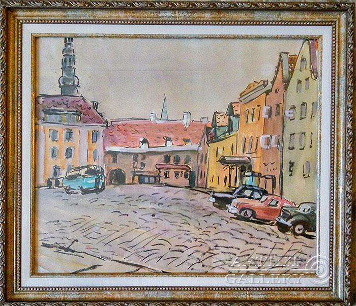 ''Площадь Таллинна''.  Юрьева Нина Борисовна. Продажа картин, предметов декоративно-прикладного искусства