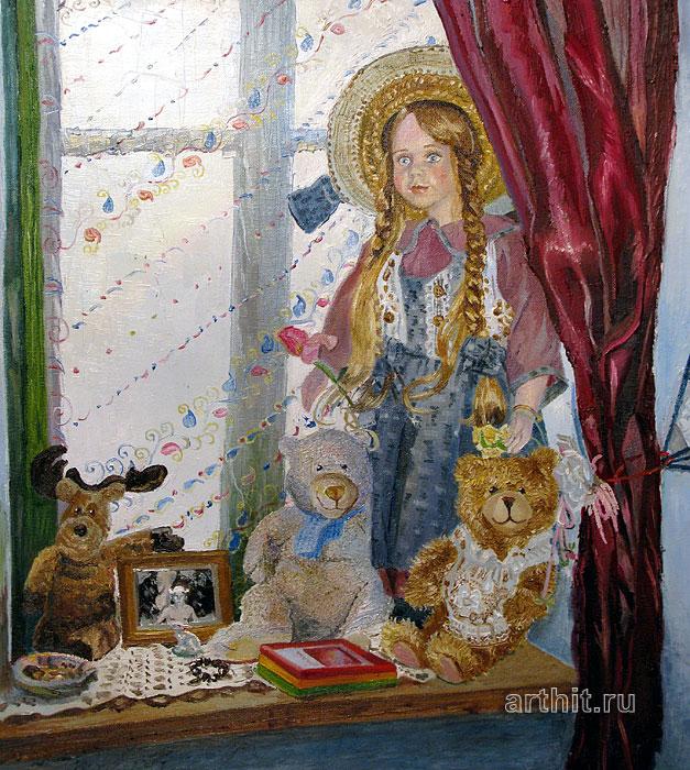''Кукла на окне''.  Севериненко Евгения. Продажа картин, предметов декоративно-прикладного искусства