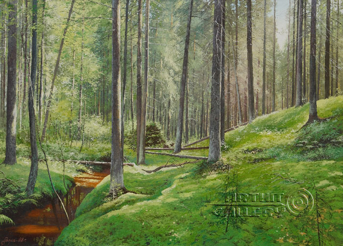 ''Изумрудный лес. Мох''.  Говоров Сергей. Продажа картин, предметов декоративно-прикладного искусства