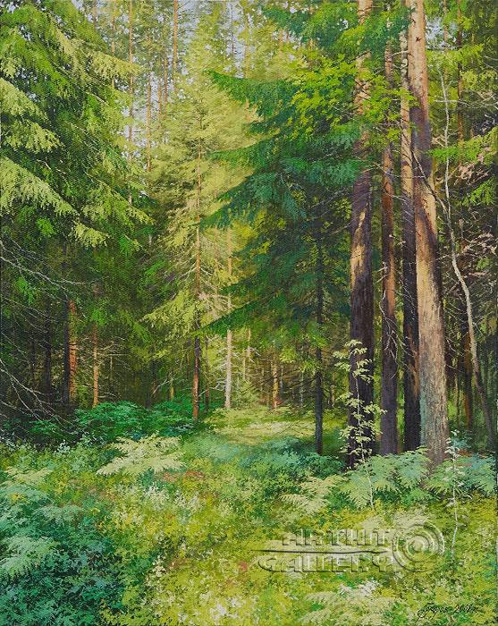Живопись маслом пейзаж лес пейзажи