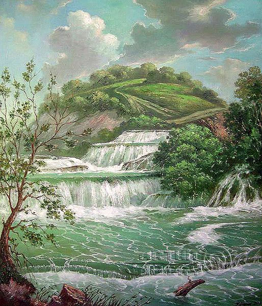 ''Пейзаж с водопадом''.  Кулагин Олег. Продажа картин, предметов декоративно-прикладного искусства