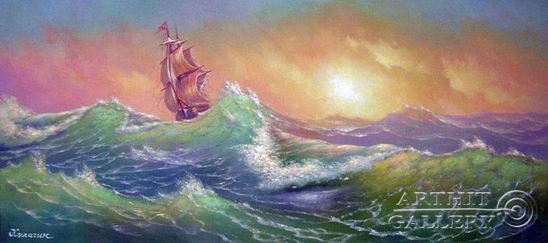 морской пейзаж картины маслом: