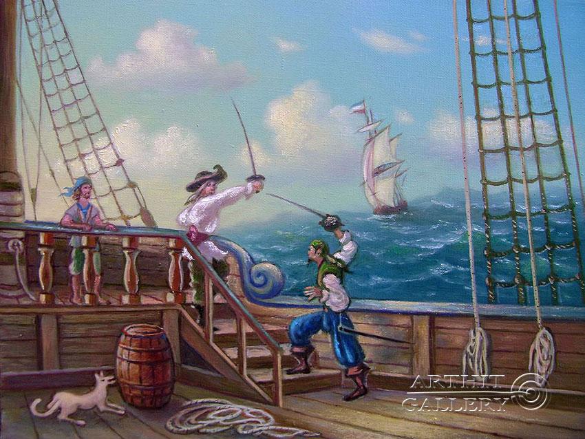 ''Пиратская сцена''.  Кулагин Олег. Продажа картин, предметов декоративно-прикладного искусства