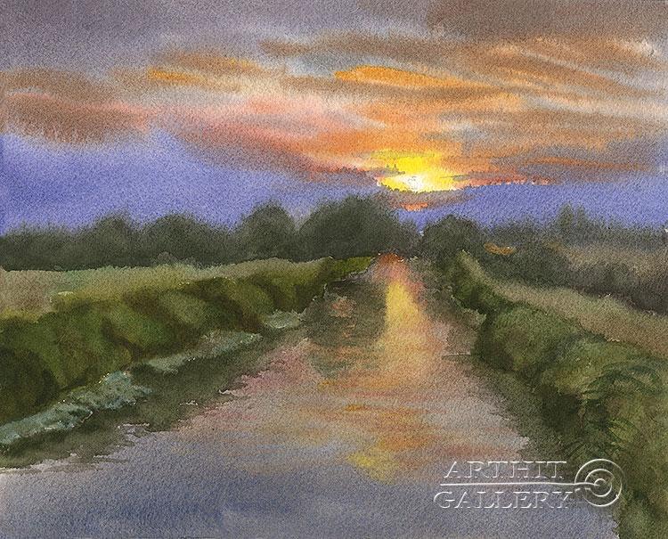 ''Вечер на реке''.  Газарова Лариса. Продажа картин, предметов декоративно-прикладного искусства