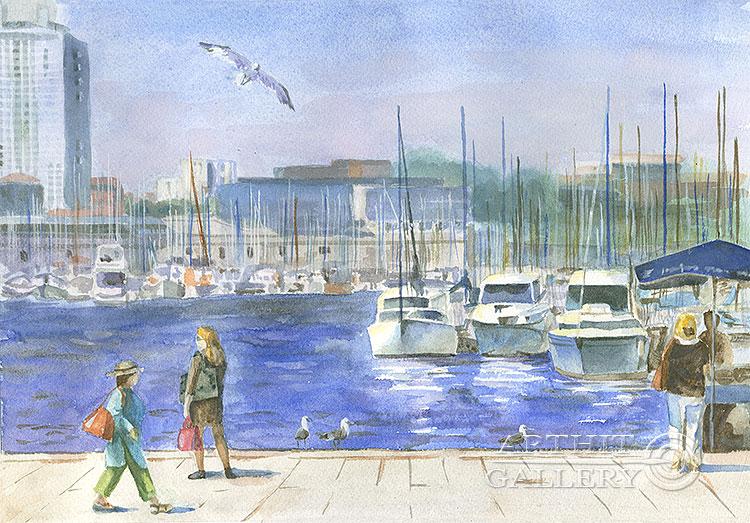 ''Старый порт. Марсель''.  Газарова Лариса. Продажа картин, предметов декоративно-прикладного искусства