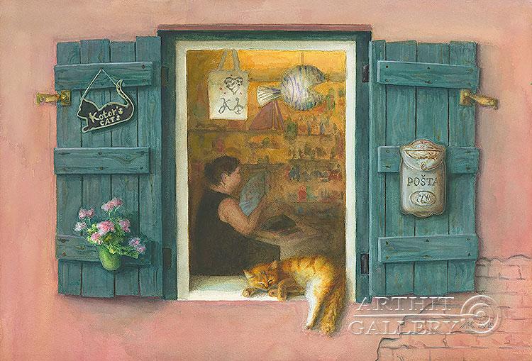 ''Хозяин лавки''.  Газарова Лариса. Продажа картин, предметов декоративно-прикладного искусства