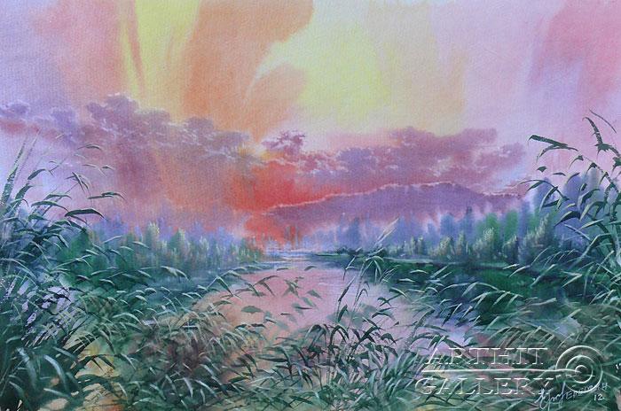 ''Утро на озере''.  Еремин Сергей. Продажа картин, предметов декоративно-прикладного искусства