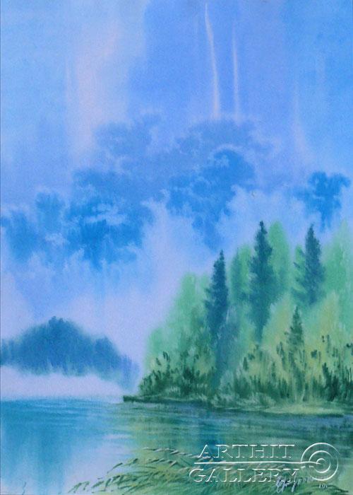 ''Туман на реке''.  Еремин Сергей. Продажа картин, предметов декоративно-прикладного искусства