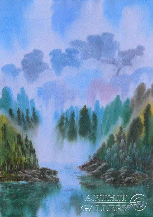 ''У водопада''.  Еремин Сергей. Продажа картин, предметов декоративно-прикладного искусства