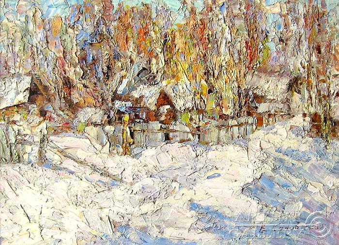 ''Зима в деревне''.  Канов Варус. Продажа картин, предметов декоративно-прикладного искусства