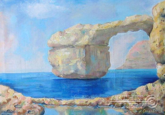 ''Мальта. Лазурное окно''.  Силаева Нина. Продажа картин, предметов декоративно-прикладного искусства