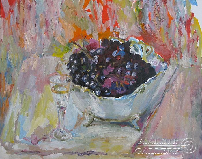 ''Натюрморт с виноградом''.  Вишневский Андрей. Продажа картин, предметов декоративно-прикладного искусства