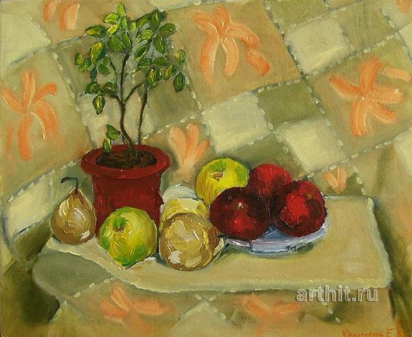 ''Натюрморт домашний, с яблоками и чайной розой''.  Виноградова Екатерина. Продажа картин, предметов декоративно-прикладного искусства