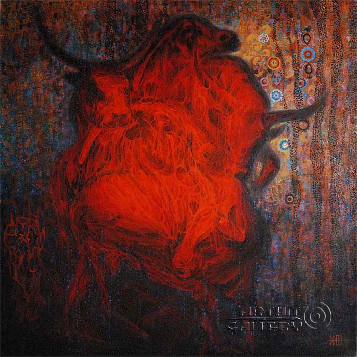 'Tower of red bulls'. Irismetova Larisa