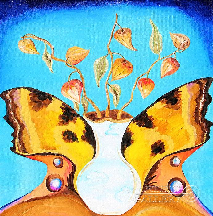 ''Крылья, небо и цветы''.  Курсакова Лариса. Продажа картин, предметов декоративно-прикладного искусства