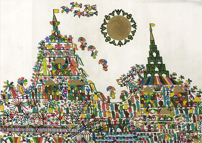 ''Прыжок с парашютом''.  Фаттал Адиб. Продажа картин, предметов декоративно-прикладного искусства