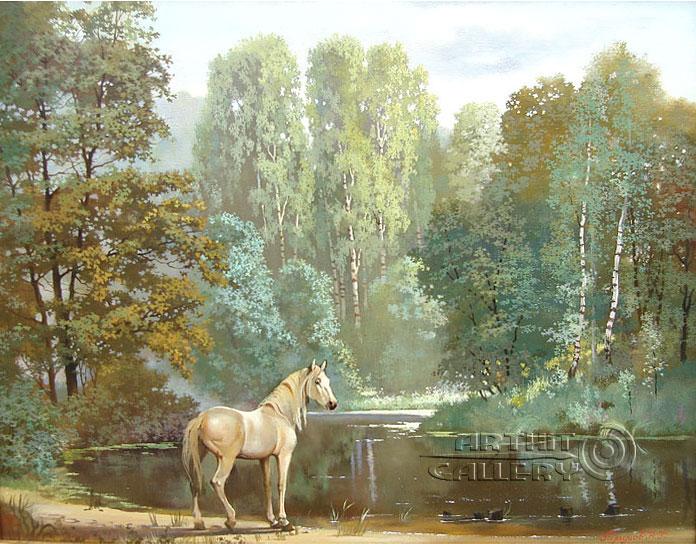''Лесное озеро''.  Галимов Наиль. Продажа картин, предметов декоративно-прикладного искусства
