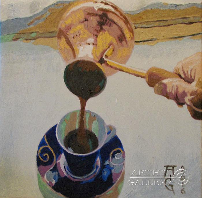 ''Кофе в полёте''.  Гукалов Александр. Продажа картин, предметов декоративно-прикладного искусства