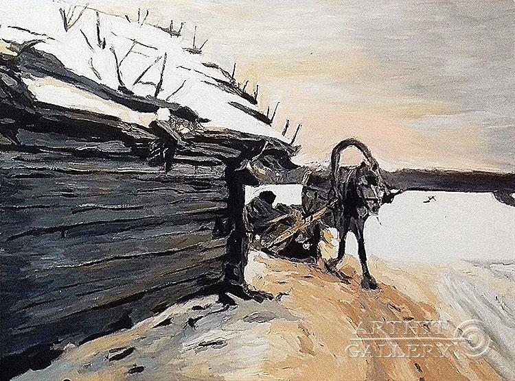 ''Зимой (точная копия картины Серова)''.  Гукалов Александр. Продажа картин, предметов декоративно-прикладного искусства