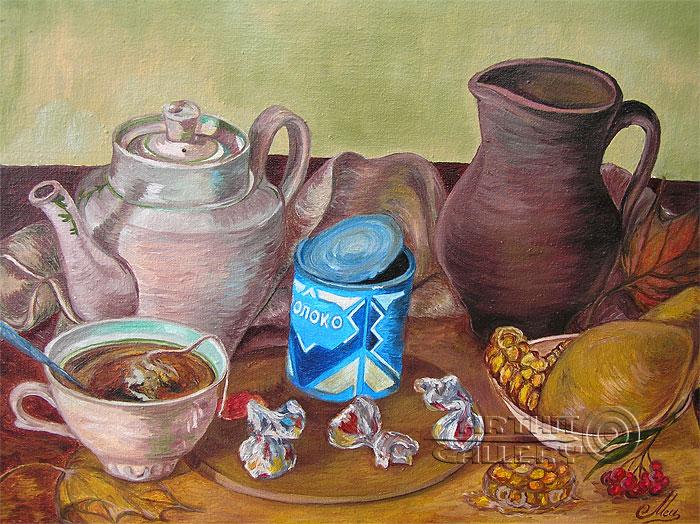''Осеннее чаепитие''.  Мец Екатерина. Продажа картин, предметов декоративно-прикладного искусства