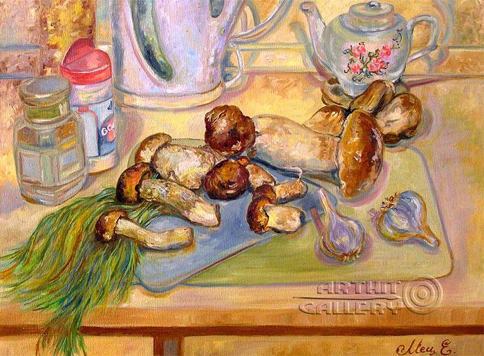 ''Натюрморт с грибами''.  Мец Екатерина. Продажа картин, предметов декоративно-прикладного искусства