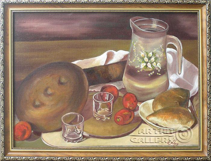 ''Натюрморт с пирогами''.  Мец Екатерина. Продажа картин, предметов декоративно-прикладного искусства