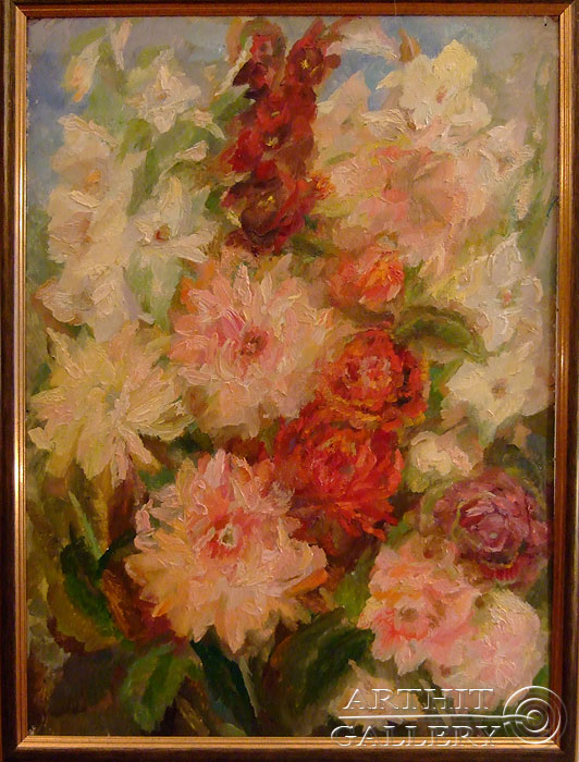 'Red gladioluses and dahlias'. Titkova Vrubelina