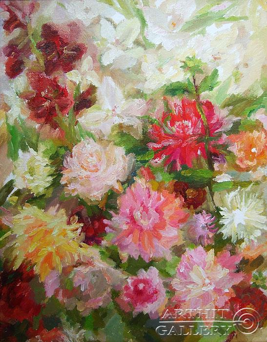 'Asters, gladioluses, daffodils'. Titkova Vrubelina