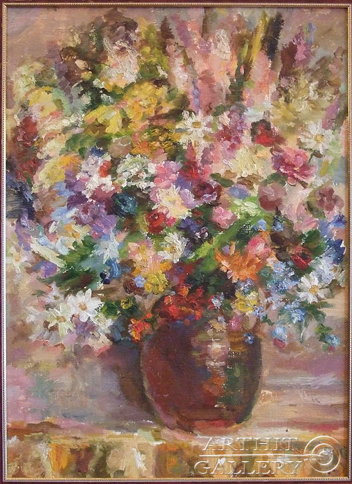 'Bouquet in a brown vase'. Titkova Vrubelina
