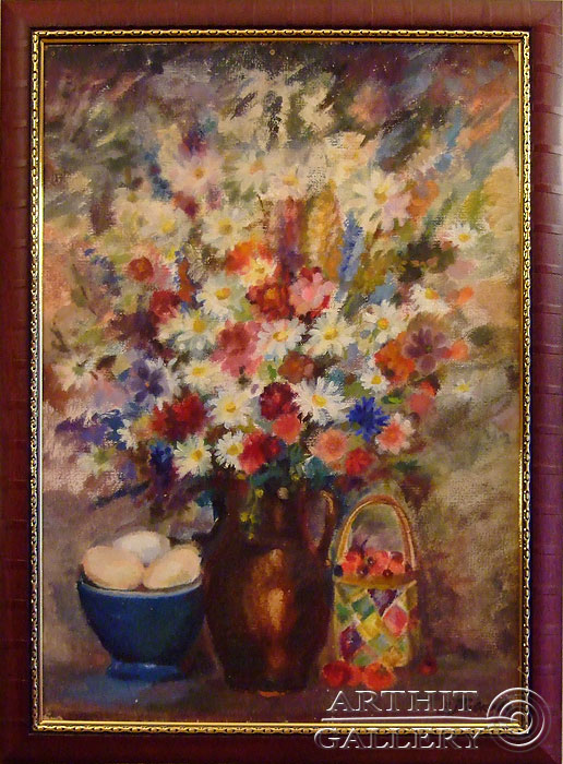 'Bouquet and blue bowl'. Titkova Vrubelina