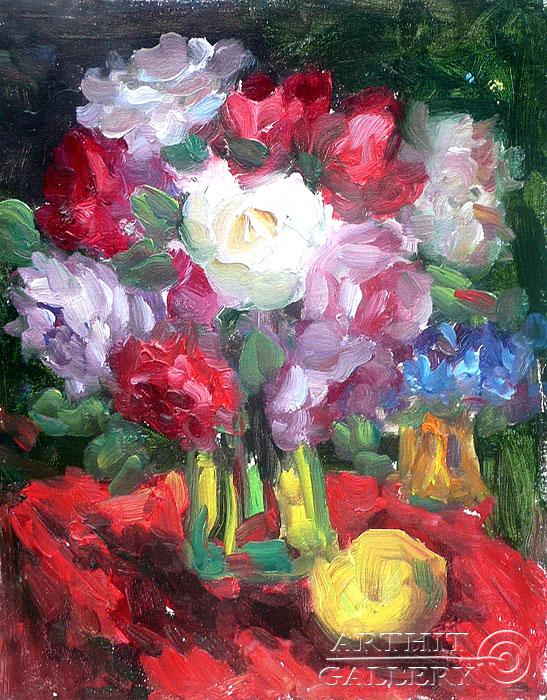 'Roses on the Red'. Sotnikov Yuriy Vasilyevich
