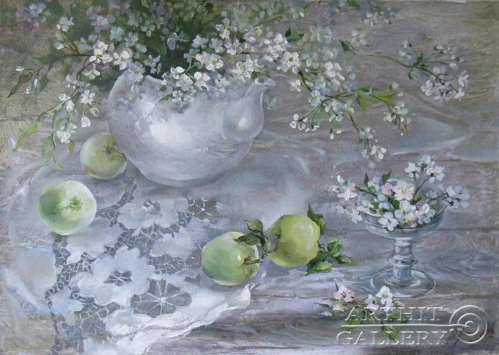 ''Натюрморт с яблоками''.  Кравченко Оксана. Продажа картин, предметов декоративно-прикладного искусства