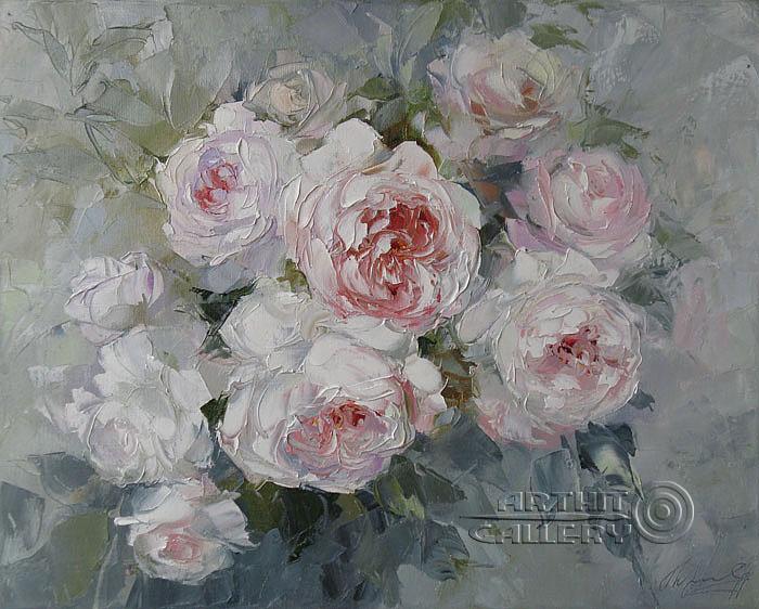 ''Белые розы''.  Кравченко Оксана. Продажа картин, предметов декоративно-прикладного искусства