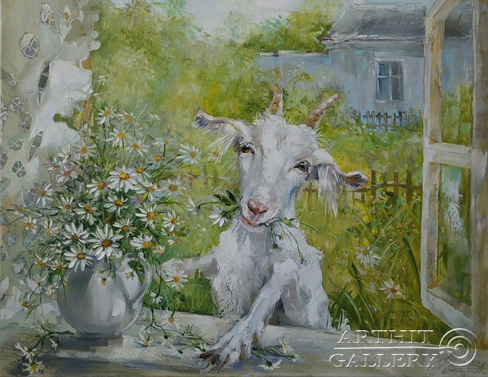 ''Веселая коза''.  Кравченко Оксана. Продажа картин, предметов декоративно-прикладного искусства