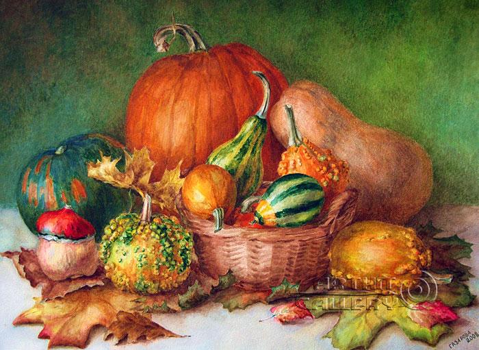 ''Тыквы и листья''.  Газарова Лариса. Продажа картин, предметов декоративно-прикладного искусства