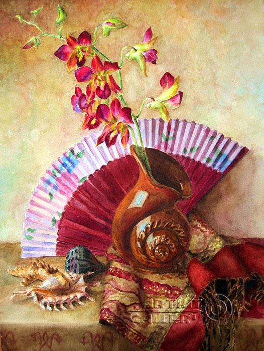 ''Натюрморт с орхидеями''.  Газарова Лариса. Продажа картин, предметов декоративно-прикладного искусства
