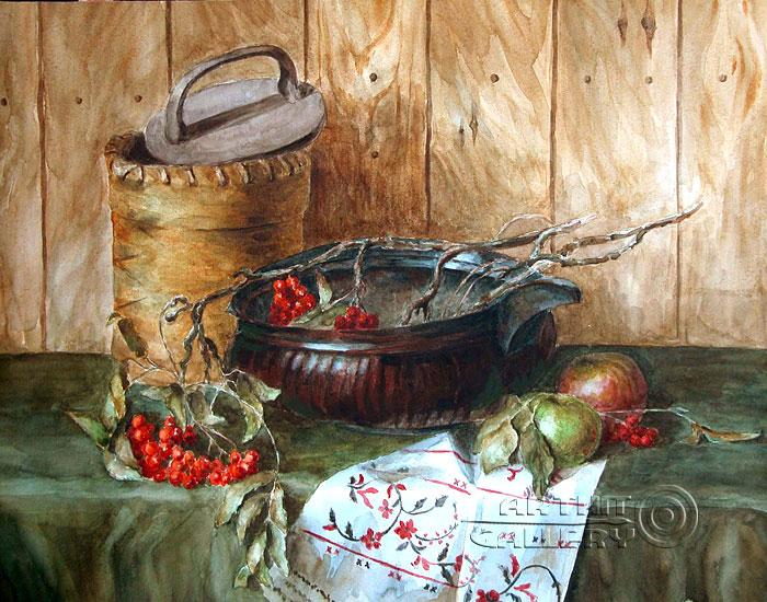 'Winebowl and birch bark basket'. Gazarova Larisa