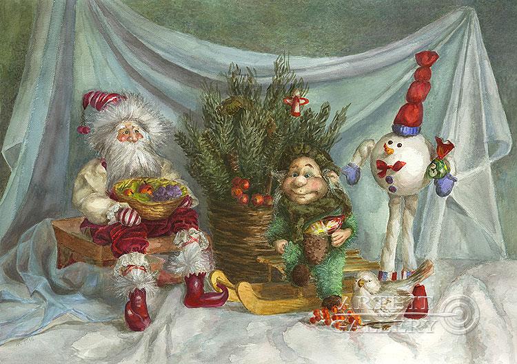 ''Новый год у кукол''.  Газарова Лариса. Продажа картин, предметов декоративно-прикладного искусства