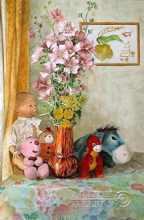 ''Игрушки моей дочки''.  Газарова Лариса. Продажа картин, предметов декоративно-прикладного искусства